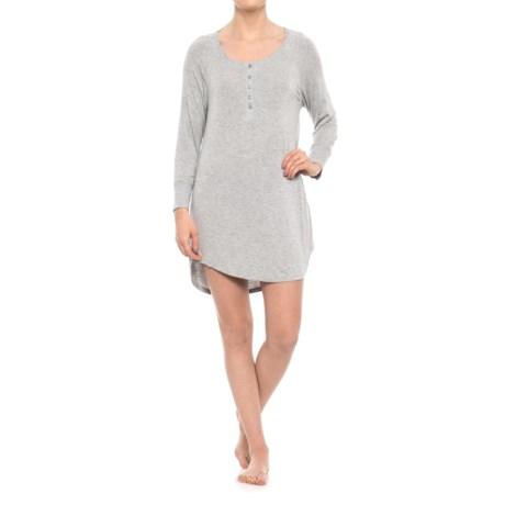 Splendid Jersey Henley Nightshirt - Long Sleeve (For Women) in Heather Grey