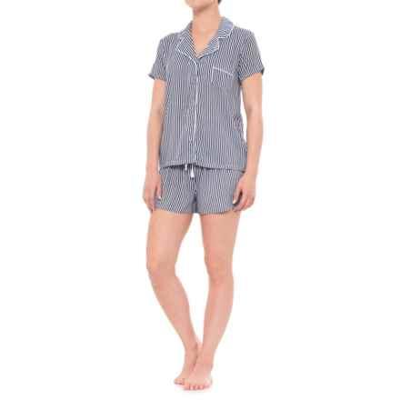Splendid Rayon Pajamas - Short Sleeve (For Women) in Vertical Heavenly Stripe - Closeouts