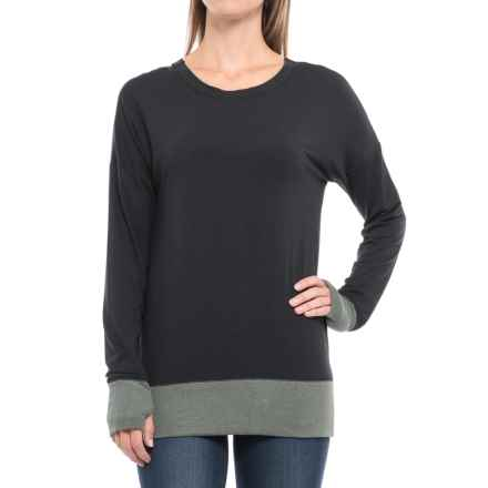 Split-Back Color-Block Shirt - Long Sleeve (For Women) in Black - 2nds