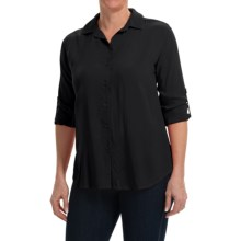 Split Back Woven Rayon Shirt - Long Sleeve (For Women) in Black - 2nds