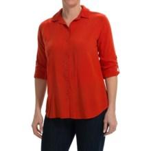Split Back Woven Rayon Shirt - Long Sleeve (For Women) in Dark Orange - 2nds