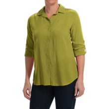 Split Back Woven Rayon Shirt - Long Sleeve (For Women) in Green - 2nds
