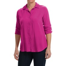 Split Back Woven Rayon Shirt - Long Sleeve (For Women) in Pink - 2nds