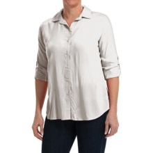 Split Back Woven Rayon Shirt - Long Sleeve (For Women) in White - 2nds