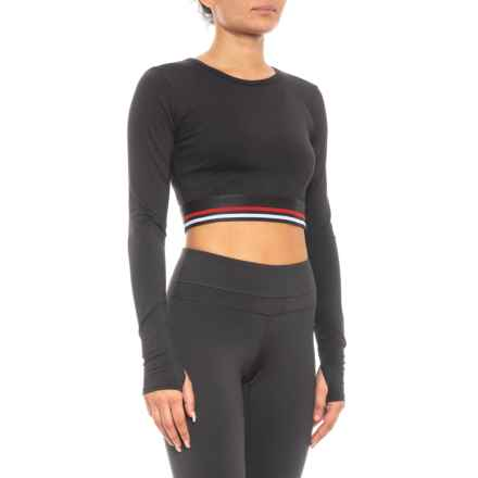 Draft Crop Shirt - Long Sleeve (For Women) in Black - Closeouts