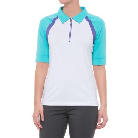 Sport Haley Boomerang Melita Golf Polo Shirt - Zip Neck, Short Sleeve (For Women) in White
