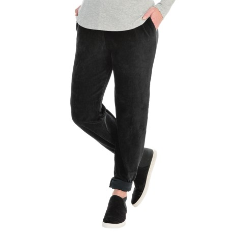 Sport Knit Corduroy Pants - Elastic Waist (For Women) in Black