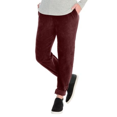 Sport Knit Corduroy Pants - Elastic Waist (For Women) in Burgundy