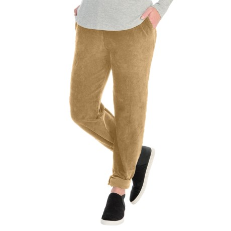 Sport Knit Corduroy Pants - Elastic Waist (For Women) in Tan