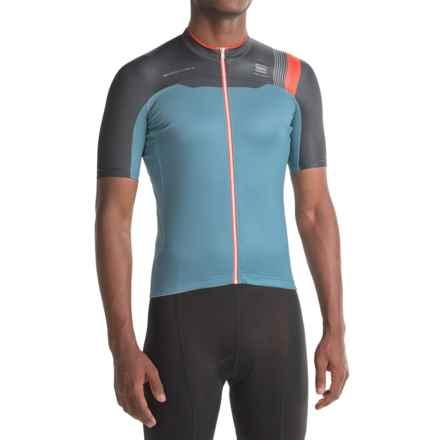 Sportful BodyFit Pro Team Cycling Jersey - Full Zip, Short Sleeve (For Men) in Blue-Grey/Black - Closeouts