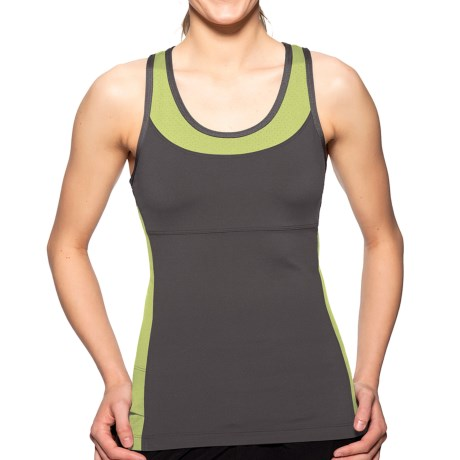 Sporthill Madison Shimmel Tank Top - Built-In Shelf Bra, Racerback (For Women) in Pewter/Lime