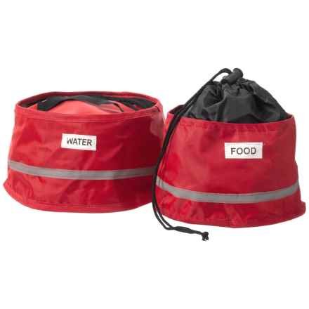 SportPet Fold to Go Travel Pet Bowls - Set of 2 in Red - Closeouts