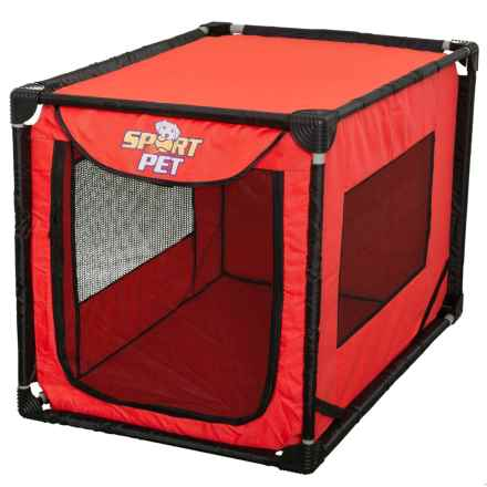 "SportPet Pop-Open Soft-Sided Portable Dog Kennel - 36x24x26"" in Red - Closeouts"