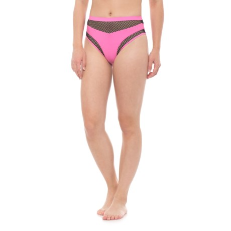 Sports Illustrated Matte Tricot Mesh Bikini Bottoms - High Waist (For Women) in Pink