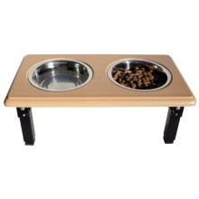 Spot Posture Pro Double Diner Dog Bowl in Oak - Closeouts