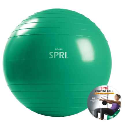 SPRI Pro Xercise Ball and Pump in Green - Closeouts