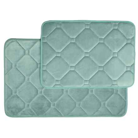 Springville Albany Memory-Foam Textured Bath Mats - 2-Pack, Teal in Teal - Closeouts