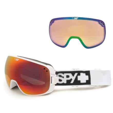 Spy Optics Bravo Ski Goggles - Extra Happy Lens in Matte White/Happy Red Spectra+Happy Lucid Green - Closeouts