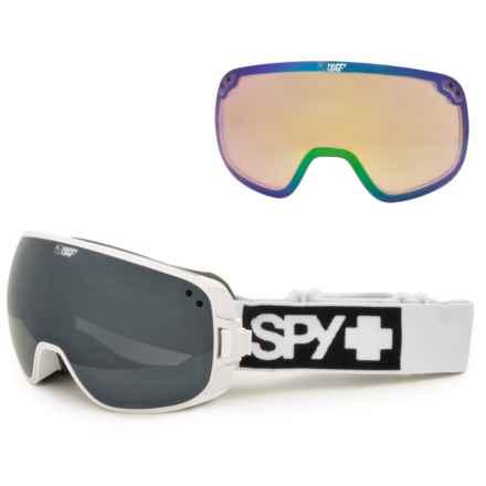 Spy Optics Bravo Ski Goggles - Extra Happy Lens in Matte White/Happy Silver Mirror+Happy Lucid Green - Closeouts