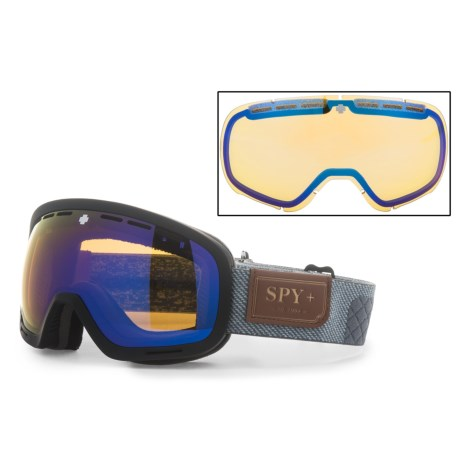 Spy Optics Marshall Ski Goggles W/Interchangeable Lens in Hunter Gray/Black/Blue Spectra + Yellow Contact