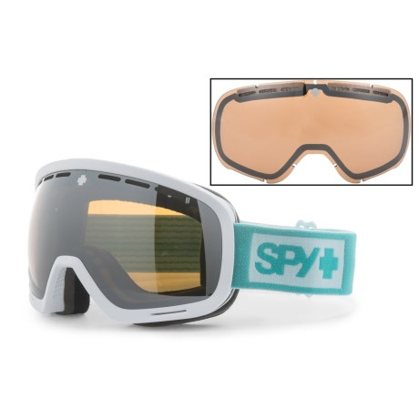 Spy Optics Marshall Ski Goggles W/Interchangeable Lens in Mint/White/Silver Spectra + Yellow Contact