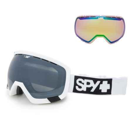 Spy Optics Platoon Happy Lens® Matte Ski Goggles - Extra Lens in Matte White/Happy Silver Mirror+Happy Lucid Green - Closeouts