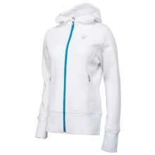 Spyder Ardent Hooded Sweater - Full Zip (For Women) in White/Riviera - Closeouts