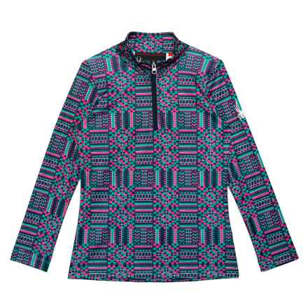 Spyder Ava Base Layer Turtleneck - Zip Neck, Long Sleeve (For Girls) in Baltic Geo Print - Closeouts