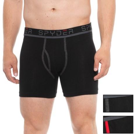 Spyder Black/Black/Black Cotton-Spandex Boxer Briefs - 3-Pack (For Men) in Black/Black/Black