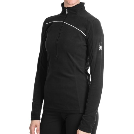 Spyder Cameo ThermaStretch Shirt - Zip Neck, Long Sleeve (For Women) in Black/Black