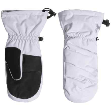 Spyder Candy Downhill Ski Mittens - Waterproof, 650 Fill Power, Leather Palms (For Women) in White/Silver - Closeouts