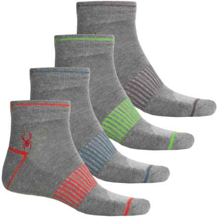 Spyder Contrast Color Rib Arch Support Socks - 4-Pack, Quarter Crew (For Men) in Light Grey - Closeouts