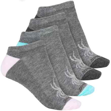 Spyder Contrast Heel Socks - 4-Pack, Below the Ankle (For Women) in Light Grey - Closeouts