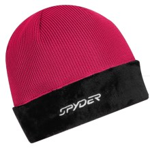 Spyder Core Sweater Hat - Cable Knit, Fleece (For Women) in Pout/Black - Closeouts