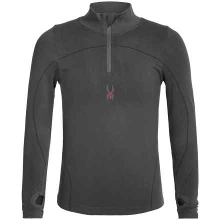 Spyder DryWEB Base Layer Top - Zip Neck, Long Sleeve (For Little and Big Girls) in Black - Closeouts