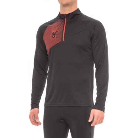 Spyder DryWEB Running Shirt - Zip Neck, Long Sleeve (For Men) in Black - Closeouts