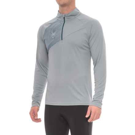Spyder DryWEB Running Shirt - Zip Neck, Long Sleeve (For Men) in Steel - Closeouts