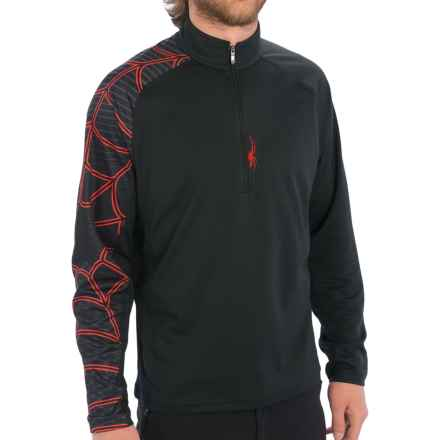 Spyder Gate Zip T-Neck Shirt - Long Sleeve (For Men) in Black - Closeouts