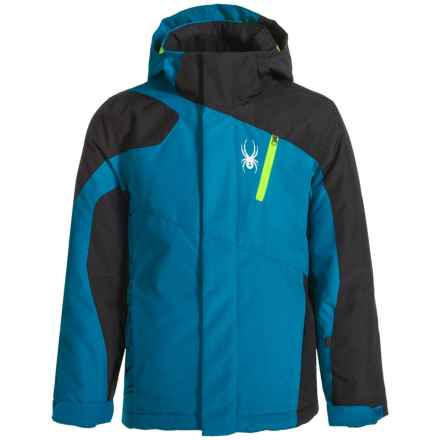 Spyder Guard Ski Jacket - Waterproof, Insulated (For Big Boys) in Concept Blue/Black/Bryte Green - Closeouts