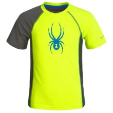 Spyder Half-Web Sleeve Interlock Shirt - Short Sleeve (For Big Boys) in Bryte Yellow/Charcoal/Blue - Closeouts