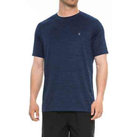 Spyder Heathered Navy Rash Guard - Short Sleeve (For Men) in Navy - Closeouts