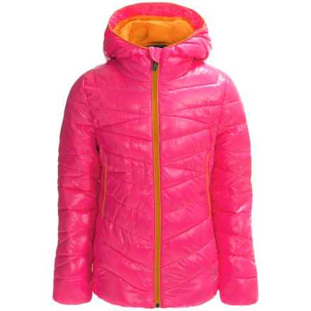 Spyder Hooded Taffeta Puffer Jacket - Insulated (For Little and Big Girls) in Bryte Bubblegum - Closeouts