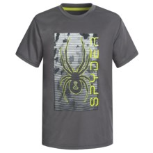 Spyder Large Print Logo Jersey T-Shirt - Short Sleeve (For Big Boys) in Charcoal - Closeouts