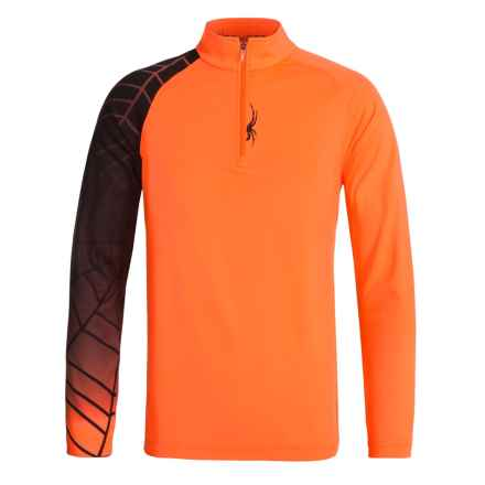 Spyder Linear Web Turtleneck - Zip Neck, Long Sleeve (For Big Boys) in Bryte Orange/Black - Closeouts