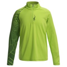 Spyder Linear Web Turtleneck - Zip Neck, Long Sleeve (For Big Boys) in Theory Green/Mountain Top - Closeouts