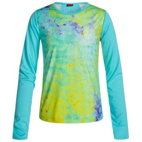 Spyder Lively Tech Shirt - Long Sleeve (For Big Girls) in Morning Sky Acid Print/Freeze