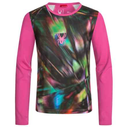 Spyder Lively Tech Shirt - Long Sleeve (For Big Girls) in Spectra Black Print/Voila - Closeouts