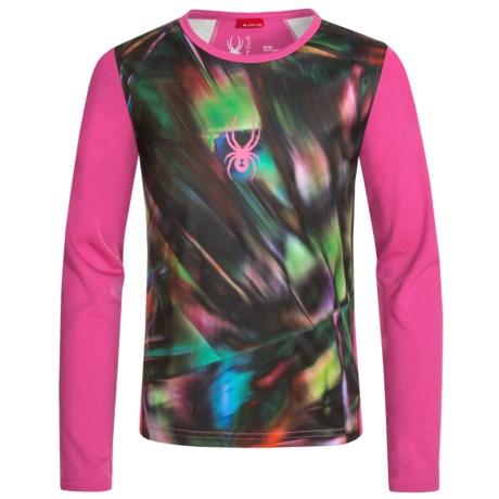 Spyder Lively Tech Shirt - Long Sleeve (For Big Girls) in Spectra Black Print/Voila