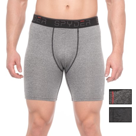 Spyder Longer-Leg Boxer Briefs - 3-Pack (For Men) in Black/Charcoal/Grey Heather