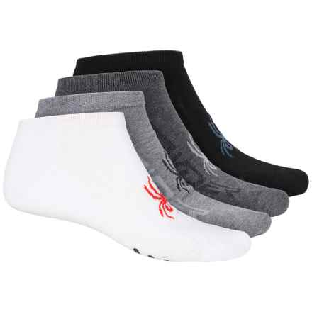 Spyder Mesh Logo No-Show Socks - 4-Pack, Below the Ankle (For Men) in White Multi - Closeouts